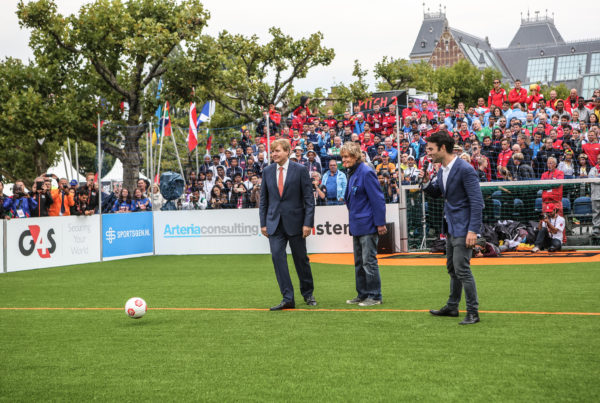 The King of the Netherlands, His Majesty King Willem-Alexander, lines up for his shot against the Dutch goalkeeper at the Homeless World Cup Amsterdam 2015. The Homeless World Cup is a unique, pioneering social movement which uses football to inspire homeless people to change their own lives. Homeless World Cup 2015 is taking place in amsterdam from september 12th to September 19th. For more information, visit www.homelessworldcup.com